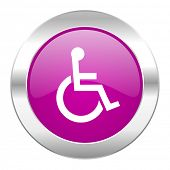 wheelchair violet circle chrome web icon isolated