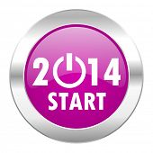 year 2014 violet circle chrome web icon isolated