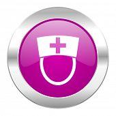 nurse violet circle chrome web icon isolated