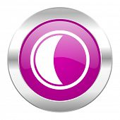 moon violet circle chrome web icon isolated