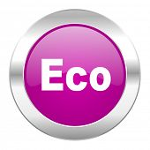 eco violet circle chrome web icon isolated