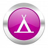 camp violet circle chrome web icon isolated