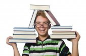 Student with books isolated on the white
