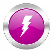 bolt violet circle chrome web icon isolated