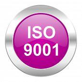 iso 9001 violet circle chrome web icon isolated