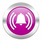 alarm violet circle chrome web icon isolated