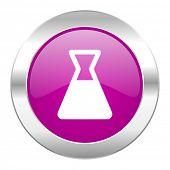 laboratory violet circle chrome web icon isolated