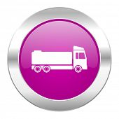 truck violet circle chrome web icon isolated