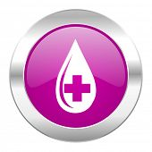 blood violet circle chrome web icon isolated