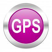 gps violet circle chrome web icon isolated