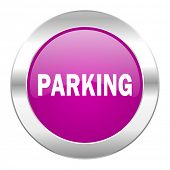 parking violet circle chrome web icon isolated