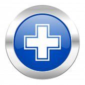 pharmacy blue circle chrome web icon isolated