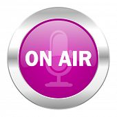 on air violet circle chrome web icon isolated