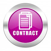 contract violet circle chrome web icon isolated
