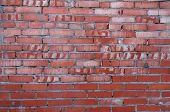 Texture Of Carelessly Stacked Wall Of Red Brick