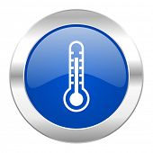 thermometer blue circle chrome web icon isolated