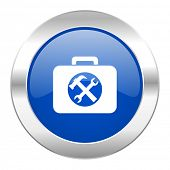 toolkit blue circle chrome web icon isolated