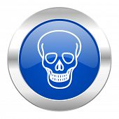skull blue circle chrome web icon isolated