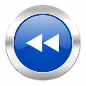 rewind blue circle chrome web icon isolated