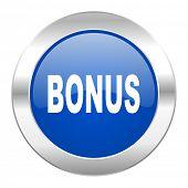 bonus blue circle chrome web icon isolated
