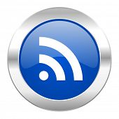rss blue circle chrome web icon isolated