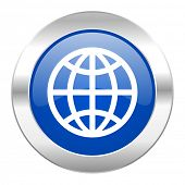 earth blue circle chrome web icon isolated