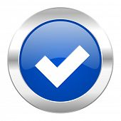 accept blue circle chrome web icon isolated