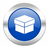 box blue circle chrome web icon isolated