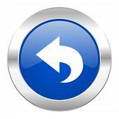 back blue circle chrome web icon isolated