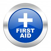 first aid blue circle chrome web icon isolated