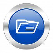 folder blue circle chrome web icon isolated