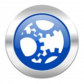 gear blue circle chrome web icon isolated