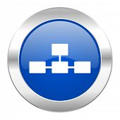 database blue circle chrome web icon isolated