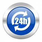 24h blue circle chrome web icon isolated