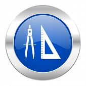 learning blue circle chrome web icon isolated