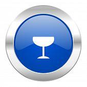 alcohol  blue circle chrome web icon isolated