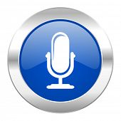 microphone blue circle chrome web icon isolated