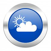 cloud blue circle chrome web icon isolated