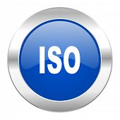 iso blue circle chrome web icon isolated