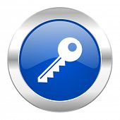key blue circle chrome web icon isolated