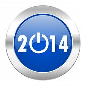 year 2014 blue circle chrome web icon isolated