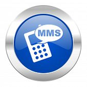 mms blue circle chrome web icon isolated