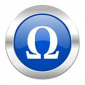 omega blue circle chrome web icon isolated