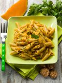 pasta with pumpkin sauce and parsley