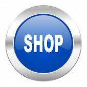 shop blue circle chrome web icon isolated