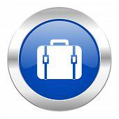 bag blue circle chrome web icon isolated
