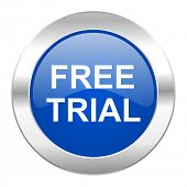 free trial blue circle chrome web icon isolated