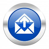 email blue circle chrome web icon isolated