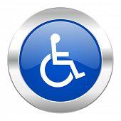 wheelchair blue circle chrome web icon isolated