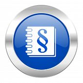 law blue circle chrome web icon isolated